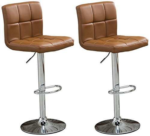Roundhill Furniture Swivel Leather Adjustable Hydraulic Bar...