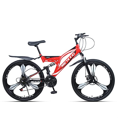 Youth/Adult 27-speed 26 Inch 3 Cutter Wheel One-wheel Multifunctional Mountain Bike, Front Suspension Of Mountain Cross-country Bike, Multiple Colors, Anti-slip Resin Pedals, High-carbon Steel Frame,f