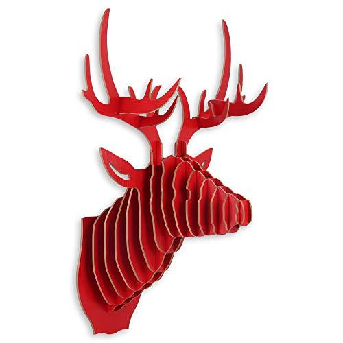ADM Ciervo Rompecabezas 3D en DM Color Rojo con Motivo de Cabeza de Ciervo, Trofeo para Colgar en la Pared como decoración WD001MR