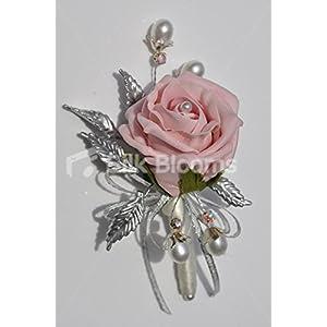 Silk Flower Arrangements Silk Blooms Ltd Vintage Dusty Pink Fresh Touch & Silver Leaf Brooch Wedding Corsage