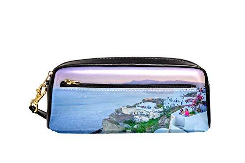 Sunset Santorini Island Pencil Case PU Cuero Papelería Bolsa Estuche Escuela Lápiz Caja Mujer Cosmética Bolsa