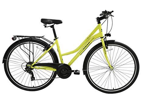 """T&Y Trade 28"""" 28 Zoll Damen City Fahrrad CITYFAHRRAD CITYBIKE DAMENFAHRRAD DAMENRAD Shimano 7 Gang Bike Rad Smile GELB"""
