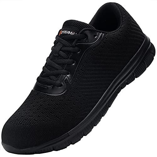 DYKHMILY Chaussures de Sécurité Homme Femme Anti-Piercing Légere Respirante Embout Acier Basket de Securite Antidérapantes Chaussures de Travail (Choc Noir,36 EU)