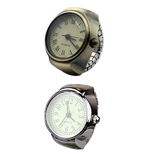 UKCOCO 2 Piezas de Reloj de Anillo de Dedo Relojes de Dedo Vintage Números Romanos Anillo de Cuarzo Reloj para Hombres Y Mujeres