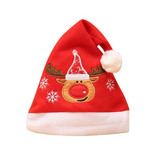 Sayla Weihnachten Dekoration Weihnachtsschmuck Geschenk, WeihnachtsmüTze NikolausmüTze PlüSch Rand Weihnachtsfeier Rot Santa MüTze Nikolaus Dicker Fellrand Aus PlüSch Kuschelweich & Angenehm FüR