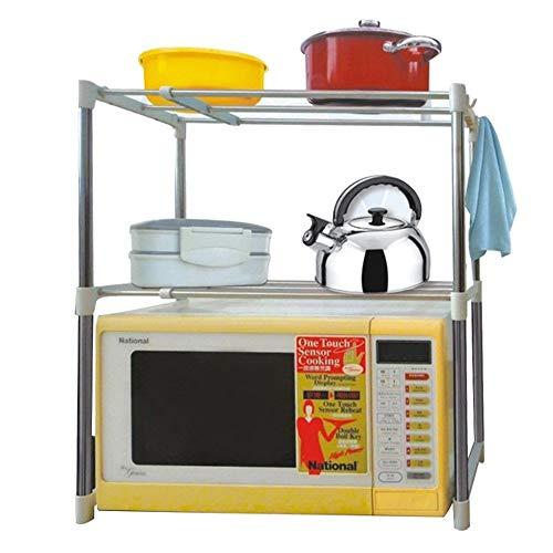 Erweiterbar Mikrowelle Regal, 2 Schicht Küchenregal Arbeitsplatte mit Haken, Mikrowellenhalterung Küchen Organizer, Ofen Regal für Küche