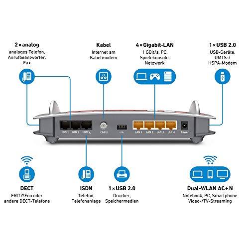 AVM FRITZ!Box 6490 Cable WLAN AC + N Router (DOCSIS-3.0-Kabelmodem für Kabelanschluss, bis 1.300 Mbit/s (5 GHz) VoIP-Telefonanlage, DECT-Basis) (Generalüberholt)
