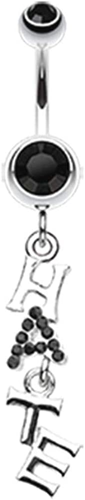 Covet Jewelry 'Hate' Dangle Belly Button Ring
