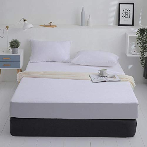 GTWOZNB Protector de colchón de bambú Funda de colchón y Ajustable Colcha Impermeable y Transpirable para Aislamiento de orina-Blanco Puro_70 * 130cm