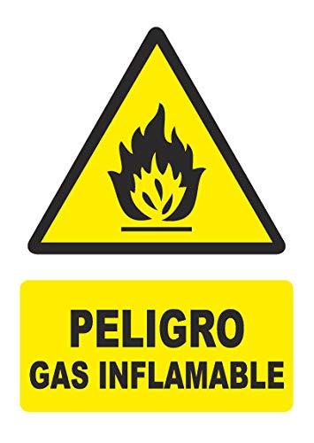 Señal PELIGRO GAS INFLAMABLE - PVC 0,7mm - 21 x 30cm –...