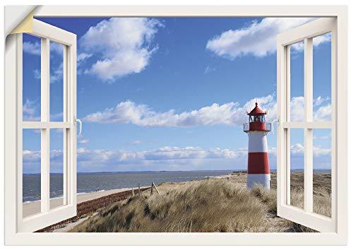Artland Wandbild selbstklebend Vinylfolie 100x70 cm Wanddeko Wandtattoo Fensterblick Fenster Strand Meer Düne Leuchtturm Sylt Nordsee T5SD