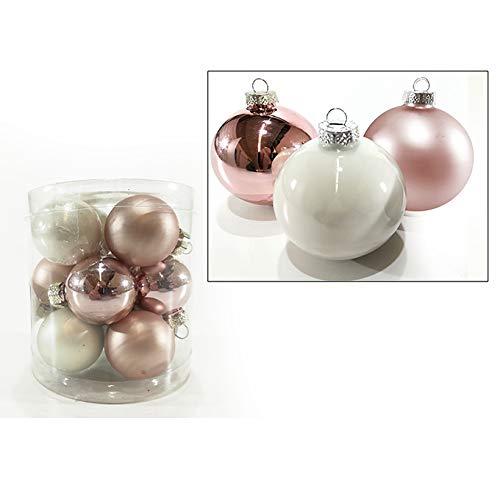 Palle per albero di natale in vetro bianche e rosa sfera natalizia in vetro palline natalizie varie misure decorazione addobbo per albero di natale ghirlanda ornamento casa natale (12 sfere da 30mm)