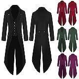 BGUK Abrigo de hombre para Halloween, estilo steampunk, gótico, retro, victoriano, cosplay, chaqueta de esmoquin, uniforme, medieval, chaleco, chaqueta y falda de arma, Negro , M