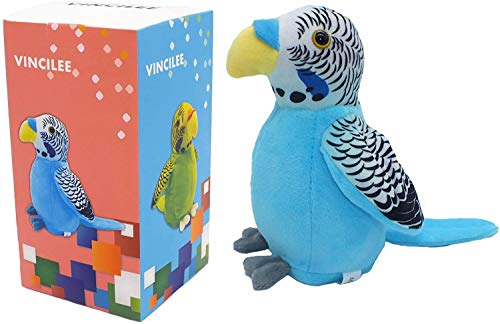Vincilee Cute Mimicry Pet Talking Parrot Repeats What You Say Plush Animal Toy Electronic Parrot for Boy and Girl Gift,Talking Parrot pet Christmas Toy Speak Sound Record Parrot 3.5 x 7 inches( Blue )