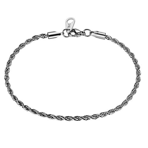Twist Rope Chain Bracelets Men 316 Stainless Steel 3mm Width Twisted Chains 19cm Bracelet Mens Hip-Hop Jewelry SB1003G-19