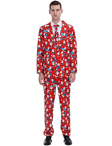 Vinotan Christmas Suits for Men Party Costumes Ugly Xmas Complete Sweater Outfit M