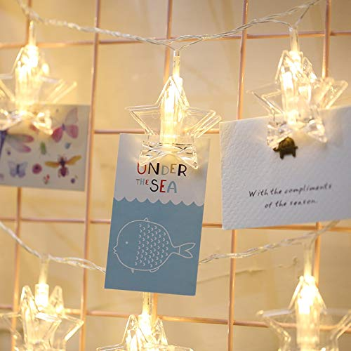 Ebogor for Holiday Lights 3m Colorful Light Star Shape Photo Clip LED Fairy String Light, 20 LEDs USB Powered Chains Lamp Decorative Light for Home Hanging Pictures, DIY Party, Wedding, Christmas Deco