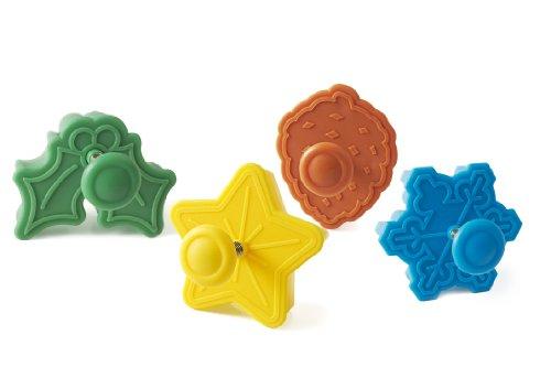 silikomart Wonder Cakes by 70.123.99.0069 Lot de 4 Découpoirs en Plastique Thème Noel, Vert/Jaune/Orange/Blue, 5 x 12 x 12 cm