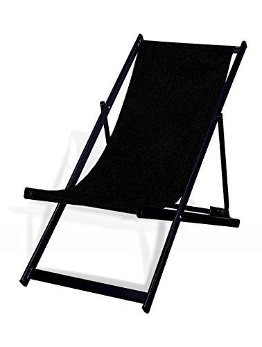 MultiBrands Liegestuhl, klappbar, Aluminium, Sitzbezug Schwarz, schwarz lackiert