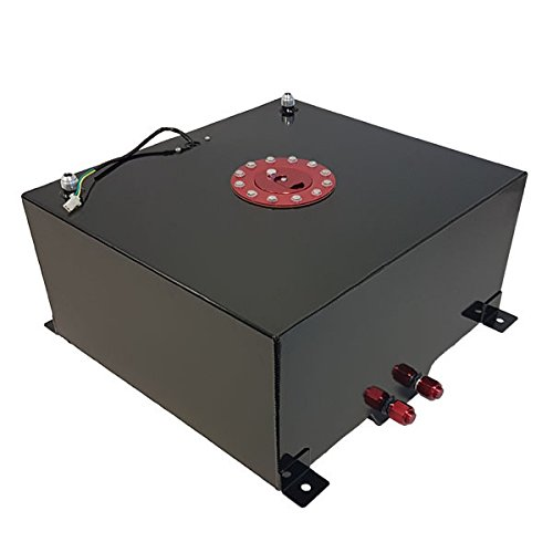 AJP Distributors Universal 40 Liter 10 Gallon Light Weight Black Aluminum Fuel Cell Tank Replacement With Level Gauge Sender Red Cap Track Drag Racing Drift