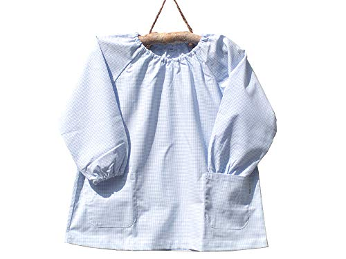 cottonNINA 子供スモック 140センチ 小学校中学年用 AS140 (水色ギンガム)