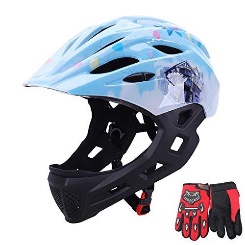 QZH Casco Completo De Bicicleta para Niños, Casco De Bicicleta Guante De Barbilla Desmontable Scooter Bicicleta Monopatín Bicicleta De Carretera De Montaña Edad De 4 A 12,A