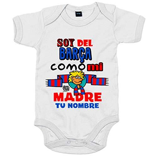 Body bebé frase parodia soy del Barcelona como mi madre personalizable con nombre - Blanco, 12-18 meses