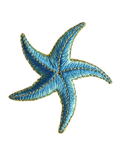 ETDesign #3376 2'x 2' Starfish Embroidery Iron On Applique Patch (Blue)