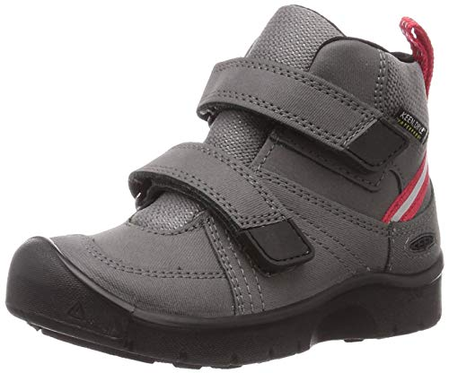 KEEN Unisex Kid's HIKEPORT 2 MID Strap WP Hiking Boot, Magnet/Red Carpet, 11