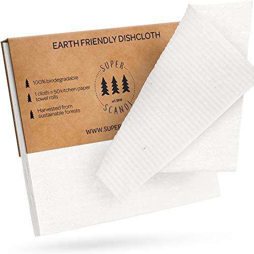 SUPERSCANDI Paños de Cocina suecos Reutilizables y biodegradables de celulosa para Cocina, Trapos, toallitas de Papel de Repuest