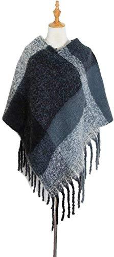 FFLQWQ0 Bufanda Otoño Invierno azul negro cálido chal para mujer borla gruesa hilo tejido gran...
