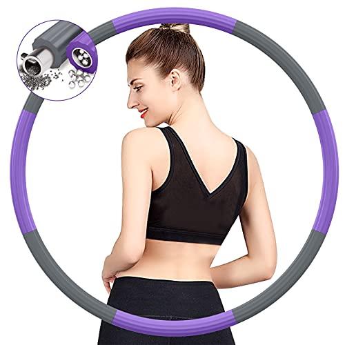 BIAOQINBO Hoop Reifen Erwachsene für Fitness Gewichtsabnahme,Verbesserter Edelstahlkern mit Dicker Premium Schaumstoff Gewichteter Hoop Reifen,8 Abnehmbare Segments von 1,2 bis 3,2 kg (Grau lila)
