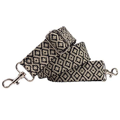 BENAVA Taschengurt Schulterriemen Schwarz Weiß Karo Verstellbar Baumwolle 40mm Karabiner Farbe Silber – Stilvolles Accessoire für Taschen Handtaschen
