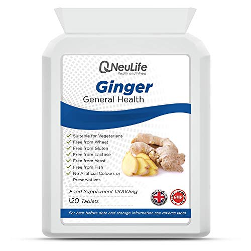 Ginger 12000mg x 120 Tablets | Nausea - Stomach Settler - Aids Digestion | Neulife Health & Fitness
