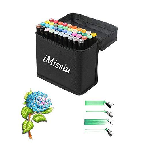 Cooltime Grafik-Markerstifte, 40 Farben, für Künstler, zum Zeichnen, Ausmalen, Hervorheben und Unterstreichen, plastik, Schwarz , Student 40 Colors