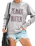 Women Peanut Butter and Jelly Letter Print BFF Sweatshirt Best Friends Matching Blouse Long Sleeve Shirts Tops Gray