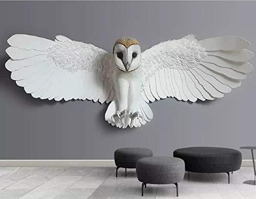 Fototapete 3D Effekt Tapete Geprägte Eule Tier Vliestapete 3D Wallpaper Moderne Wanddeko Wandbilder