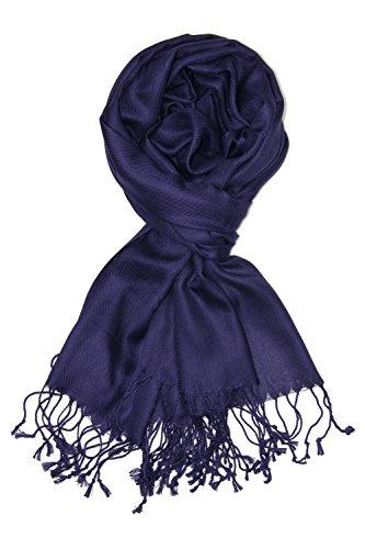 Achillea Soft Silky Solid Pashmina Shawl Wrap Scarf for Wedding Bridesmaid Dress (Dark Navy)