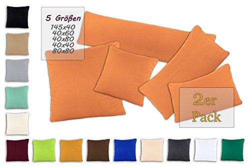 SHC Textilien Pacco Doppio Copricuscini Copricuscino Federe con Chiusura a Zip in 100% Cotone – 15 Colori e 5 grandezze 40x40 cm Nectarine/mandarina