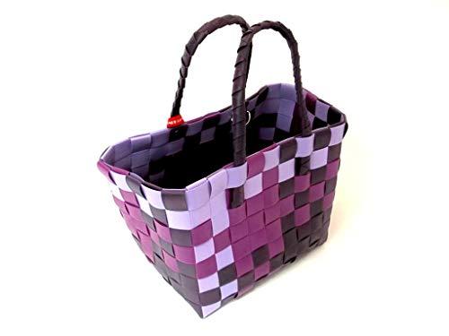 s Ice Bag Einkaufskorb, Einkaufstasche aus recycelten Kunststoffbändern, ca. 34cm x 25 cm x 28cm/47cm
