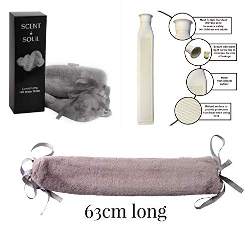 Scent and Soul Luxury Long Hot Water Bottle – Super Soft Plush Cover...
