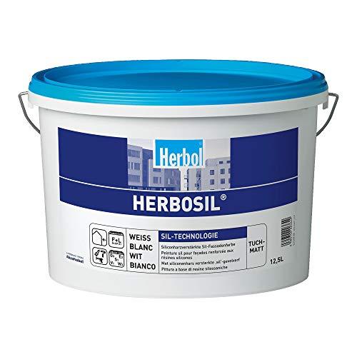 Herbol Profi Herbosil Fassadenfarbe Silikonharzfarbe Silikatfarbe, weiß tuch-matt, 2.5 Liter