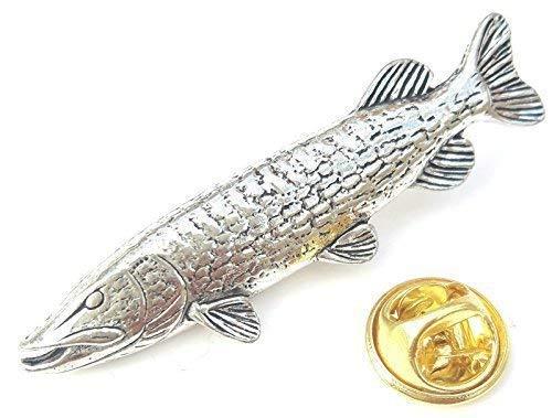Emblems-Gifts Hecht Fisch Handgefertigt aus Englisch Zinn in UK Abzeichen 59mm Button Abzeichen + Geschenkbeutel