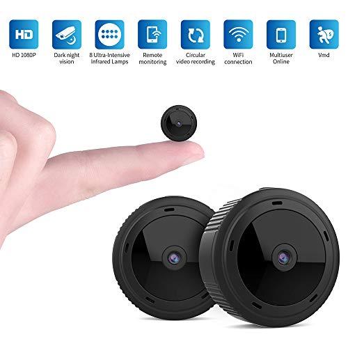 Mini cámara Oculta WiFi, cámara espía HD 1080P Visión Nocturna Detección de Movimiento para la cámara de la Oficina en el hogar Cámara de niñera, Grabación con cámara IP usando Interiores Exteriores