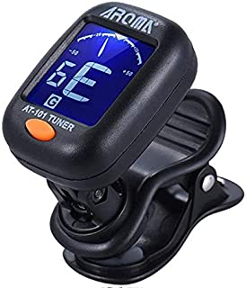 Mini Clip-on Digital Tuner with Foldable Rotating Clip High Sensitivity for Chromatic Guitar Bass Violin Ukulele AROMA AT-101
