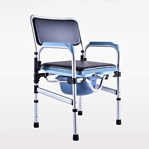 Silla Wc Con Inodoro Regulable en Altura Silla de Ducha de Aluminio Con Respaldo y Reposabrazos,Negro
