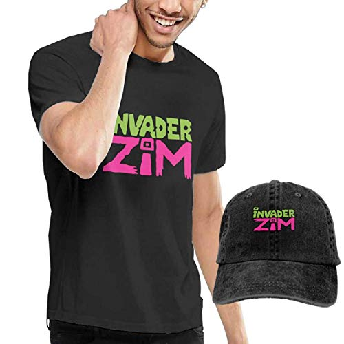 LYZBB Top e Bluse, Camicie e T-Shirt Sportive, Ssouyph Mens Invader Zim Logo Cotton Casual Short Sleeve T-Shirt with Baseball cap