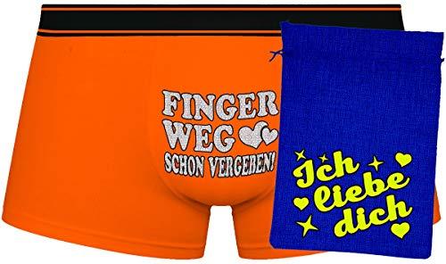 Herr Plavkin Geschenk | Finger Weg Schon vergeben! | orange Boxers & Blue Bag ''Ich Liebe Dich'' | Yellow |
