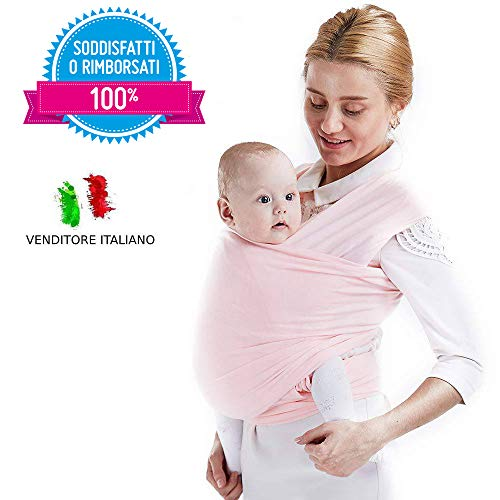 Mamacadabra Fular Portabebés Elástico Correa de hombro de alta calidad para bebés y niños de hasta 2 años Mantenga a su bebé cerca del corazón (Rosa)