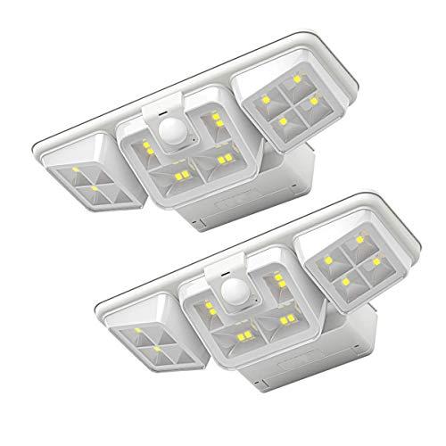 Solare luci esterne, iThird 16 LED portacandela tripla Super luminoso sensore di movimento Luci di sicurezza, applique da parete impermeabili PIR Sensore grandangolare per patio Cortile Portone